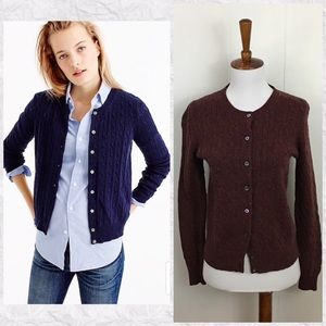 J. Crew Cambridge Wool Blend Cable Cardigan